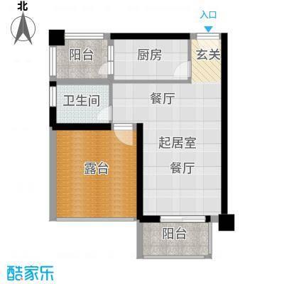 港腾御景江山1号楼H户型1卫1厨