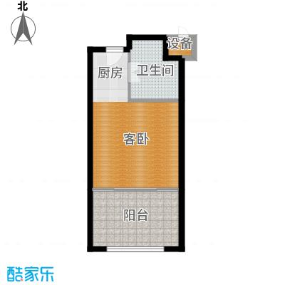 戴斯大卫营精装修酒店公寓(标间)户型图 销售面积48㎡实得53㎡户型1室1卫
