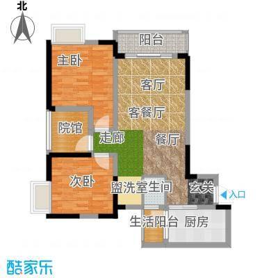 绿地海棠湾A3单卫户型2室1厅1卫1厨