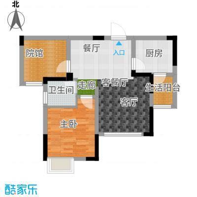 绿地海棠湾A1单卫户型1室1厅1卫1厨