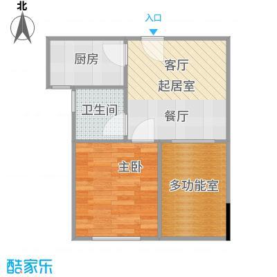 两江铂金时代36.42㎡单体楼标准层A7户型1室1卫1厨