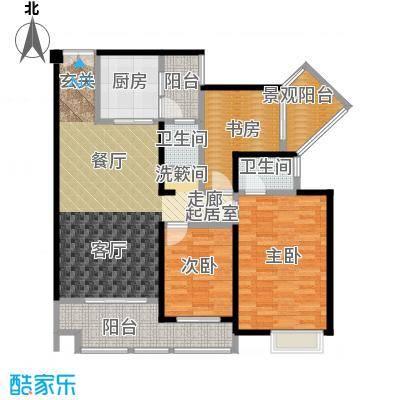 花滩国际新城丁香郡B3三居室户型3室2卫1厨