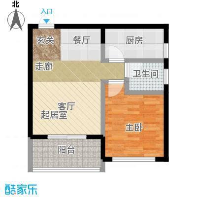 丰都龙景花园53.00㎡户型1室1卫1厨