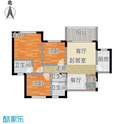 丰都龙景花园90.00㎡户型3室2卫1厨