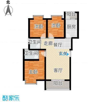 中华坊云岭103.12㎡B三室两厅两卫户型