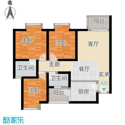中华坊云岭102.53㎡D2三室两厅两卫户型