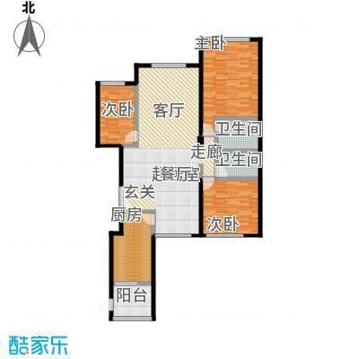 亚特兰大厦143.13㎡三室一厅两卫户型