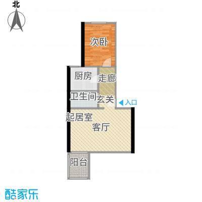 望京利泽家园53.70㎡一室一厅一卫户型