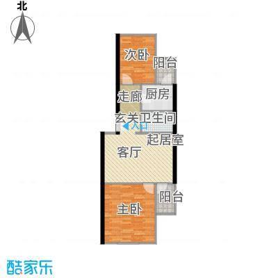 望京利泽家园70.70㎡两室一厅一卫户型
