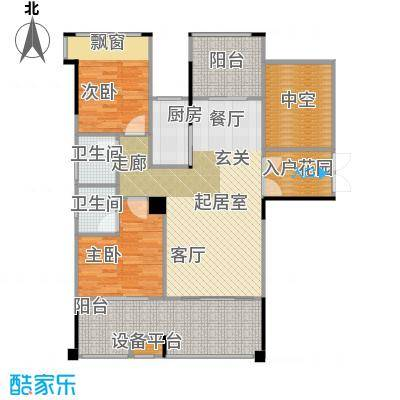 锦绣虔城102.00㎡儒雅二房户型2室2厅2卫