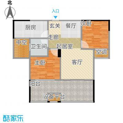 锦绣虔城76.00㎡清雅二房户型2室2厅1卫