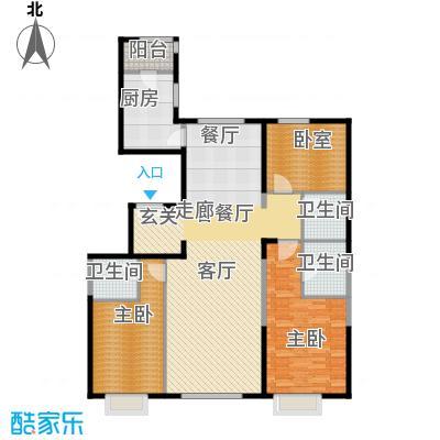 富力又一城152.00㎡C12二单元01三室户型2室1厅3卫1厨