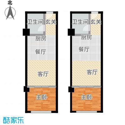 零点特区41.60㎡A都市新贵跃层户型2室2卫