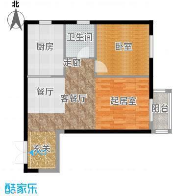 北京华侨城85.00㎡B成-A2-6楼2单元2403一室户型1厅1卫1厨