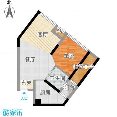 中驰・半岛荟景二期6号房 1室2厅1卫1厨41.75㎡户型