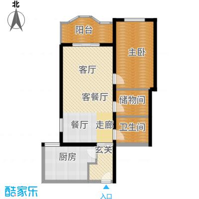 国际友谊花园85.30㎡一室两厅一卫户型