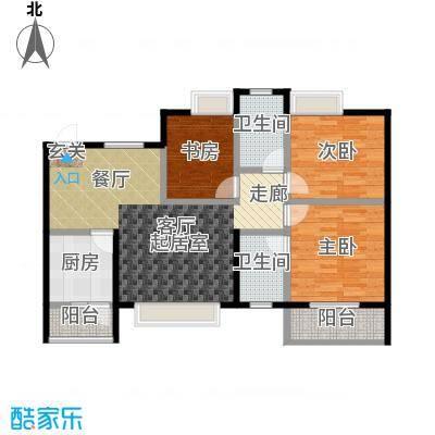 世隆华都106.00㎡三室两厅双卫户型