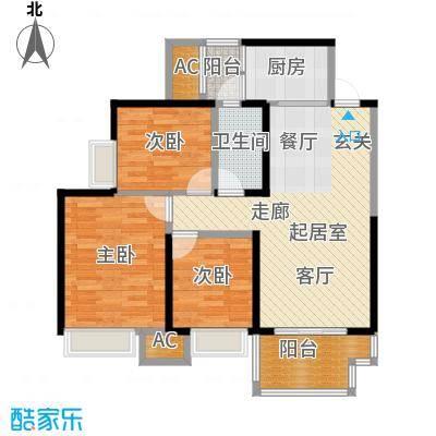 天麓尚层134栋D户型3室1卫1厨