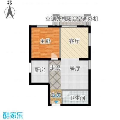 朝阳雅筑83.98㎡F户型一室两厅户型