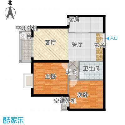 朝阳雅筑92.80㎡B户型二室二厅户型