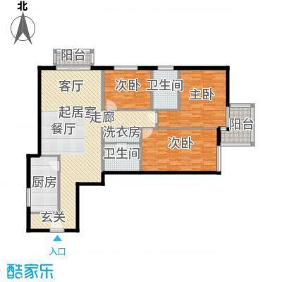 电子城小区131.30㎡二室一厅二卫户型