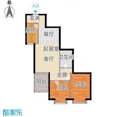 电子城小区104.81㎡二室二厅一卫户型