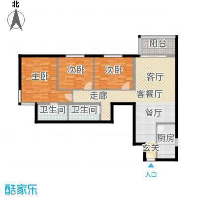 电子城小区118.20㎡三室一厅二卫户型