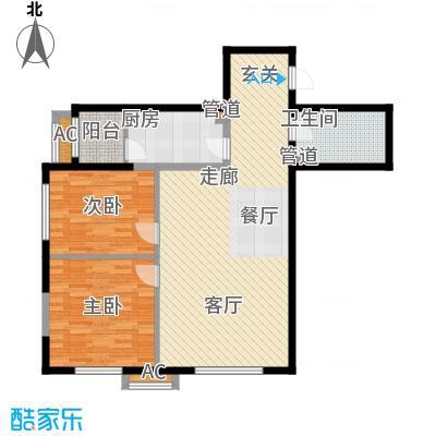 观筑金洋国际92.79㎡B6两室两厅一卫户型