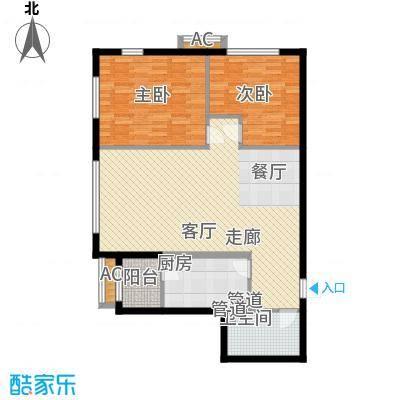 观筑金洋国际102.08㎡B8两室两厅一卫户型