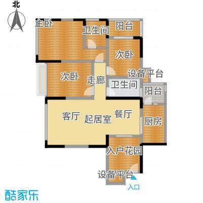富临桃花岛户型3室2卫1厨
