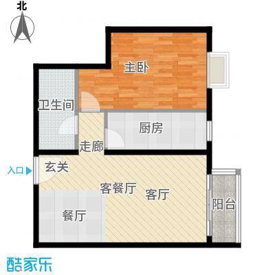 优品国际公寓76.48㎡一单元05一室户型1室1厅1卫1厨
