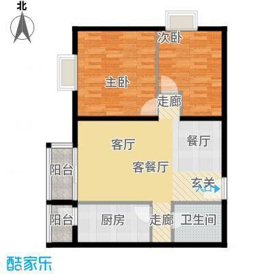 优品国际公寓92.79㎡五单元06(5-19层)两室户型2室1厅1卫1厨