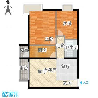 优品国际公寓89.88㎡一单元02两室户型2室1厅1卫1厨