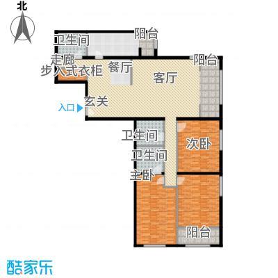 泰达时代中心公寓219.53㎡D户型3室2厅3卫户型