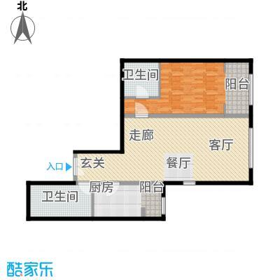 泰达时代中心公寓113.97㎡C户型1室2厅1卫户型