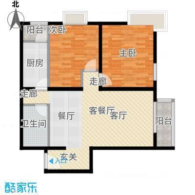 优品国际公寓97.94㎡一单元03两室户型2室1厅1卫1厨