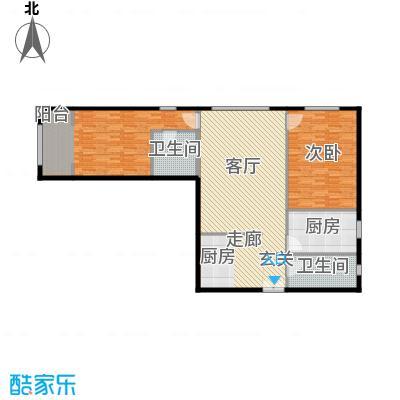 泰达时代中心公寓147.36㎡A户型2室2厅2卫户型