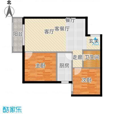 优品国际公寓84.42㎡四单元02两室户型2室1厅1卫1厨