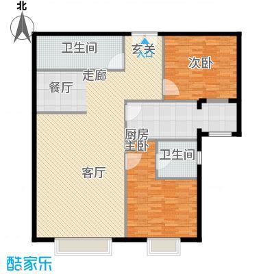 泰达时代中心公寓138.00㎡F户型2室2厅2卫户型