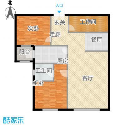 泰达时代中心公寓138.00㎡E户型2室2厅2卫户型