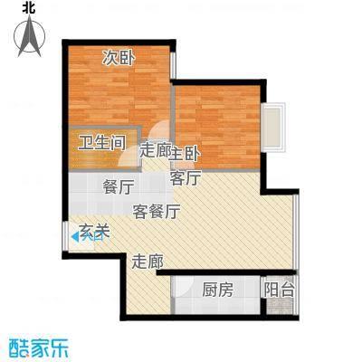 优品国际公寓87.65㎡四单元06两室户型2室1厅1卫1厨