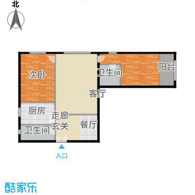 泰达时代中心公寓147.36㎡B户型2室2厅2卫户型