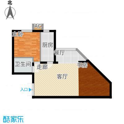 里外里公寓88.79㎡B-I1-1户型一室二厅一卫户型