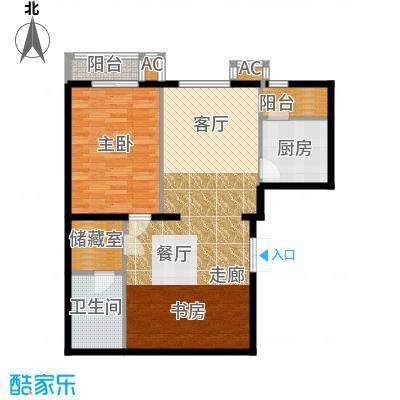 里外里公寓107.11㎡B-H1-1户型一室二厅一卫户型
