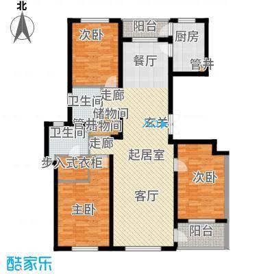 美伦堡2#B-1三室二厅二卫户型