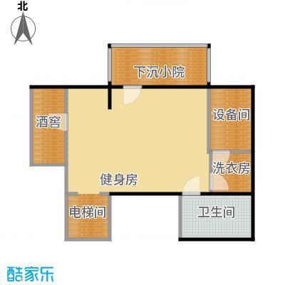 鸿坤・林语墅59.09㎡叠拼B1B面图户型1卫