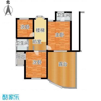 扬州水乡164.15㎡D2三室两厅三卫二层户型