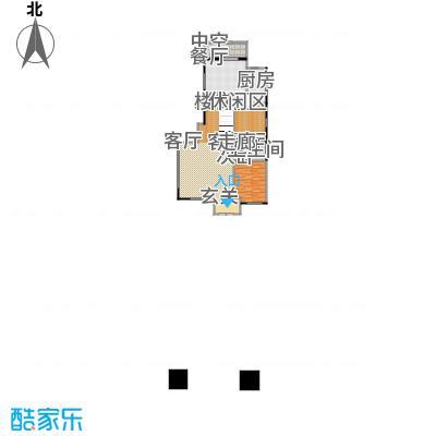 鸿坤・林语墅135.07㎡叠拼A1F面图户型1室1厅1卫1厨