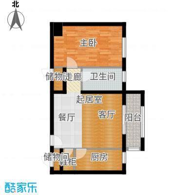 塞纳维拉・永定华庭74.57㎡H 户型1室2厅1卫