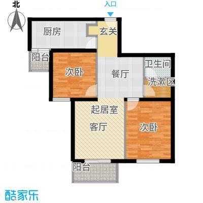 首开知语城91.00㎡C-4户型二室二厅一卫户型
